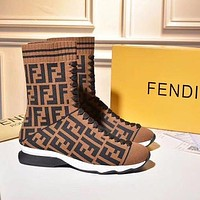 Wearwinds FENDI Classic Stylish Women Personality Sports Elastic Stocking Boots Shoes Coffee I/A