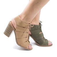 Quince Cut Out Corset Lace Up Sling Back Stacked Block Heeled Sandals