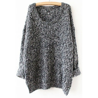Grey Long Sleeve Loose Sweater one size (Size: M, Color: Grey)