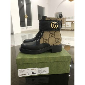 Gucci 2021 Trending Women's men Leather Side Zip Lace-up Ankle Boots Shoes High Boots10160wk