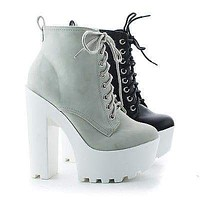 Gru By Soda, Lace Up Lug Sole Platform High Chunky Block Heel Ankle Booties