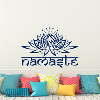 Lotus Flower Wall Decal Yoga Namaste- Yoga Meditation Wall Decal- Lotus Flower Bedroom Dorm Yoga Studio Living Room Wall Art Home Decor Q273