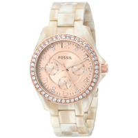 Fossil ES3579 Women's Riley Crystal Bezel Rose Gold Dial White Resin Bracelet Multifunction Watch