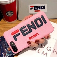 FENDI Tide brand men and women leather iPhoneXR case hard shell
