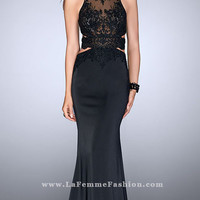 Black Jersey Open Back Prom Dress with Cut Outs