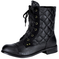 Womens Ankle Boots Quilted Tonal Stitch Combat Lace Up Shoes Black SZ