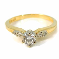 Contemporary Diamond Engagement Ring 14k Gold