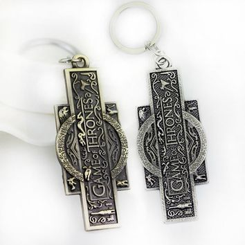 RJ Fashion Film Jewelry Game Of Thrones Keychain High Quality 2 Colors Fire And Ice Keyring Pendant Souvenir Gift For Men Fans