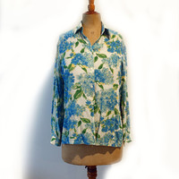 Vintage designer Simona pure silk crepe blue and cream button down blouse sz AUS8 US4