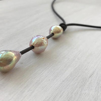 Pearl leather necklace - tear drop necklace - lariat necklace - leather pearl necklace  - bridal jewelry - bridesmaid jewelry