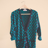 90's Hipster Cardigan Black Green Plaid Jumper Sweater Button Up V-Neck Size Medium Pattern Cotton Oversized Cozy Comfy
