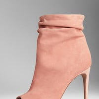 Suede Peep-Toe Boots