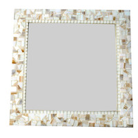 White and Gold Mosaic Mirror, Square Wall Mirror