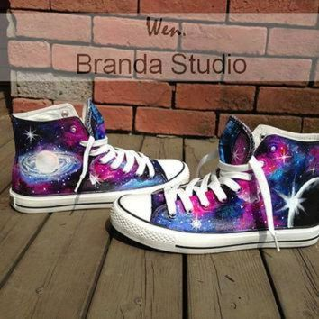 CREYUG7 Galaxy Converse,Hand Paint On Custom Converse Only 89Usd, Studio Hand Painted Shoes Hi