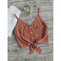 Button Up Knot Cami Top