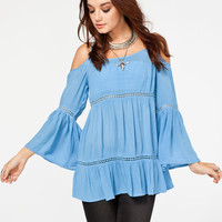 Patrons Of Peace Womens Cold Shoulder Top Blue  In Sizes