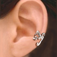 Empire ear cuff earring jewelry - Antiqued silver earcuff for men and women - Left 081212