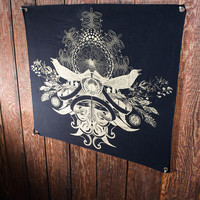 Wall Tapestry- Gold Bird Crest Banner- Organic Cotton Canvas w/ Eyelets SALE