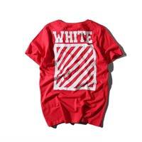 Off White Cotton Alphabet Short Sleeve Casual T-shirts [415654314020]