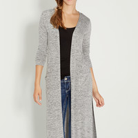 ultra soft heathered duster with side slits