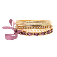 Gold, Pearl and Purple Ribbon Bracelet Set