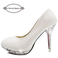 2016 Glitter White Wedding Shoes Evening Shoes Crystal Red Bottom High Heels Sexy Women's Pumps Bridal Shoes Red Sole Shoes