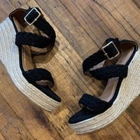SALE! Mason Espadrille Wedges in Black