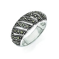 Sterling Silver Marcasite Domed Ring