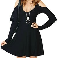 Black Long Sleeve Off-shoulder Skater Dress