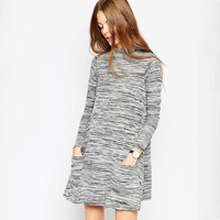 Gray Semi-High Collar Patterned Knitted Dress