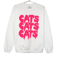 Cat Sweatshirt - Pink on White - Cats Cats Cats Drippy Slime Kawaii Grunge