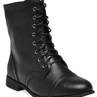 Lace-Up Combat Boots - Wide Width | Wet Seal