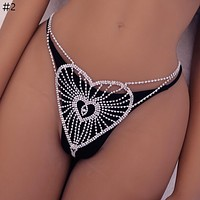Sexy Blue Crystal Shining Body Chain Crystal TAhong Women Belly Chains for Waist Lingerie Dropship Item Gift