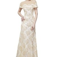 Beautifly Women's Elegant Golden Lace Off Shoulder White Ball Gown