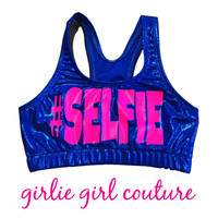 Custom Neon Metallic Sports Bra - Cheer Gymnastics Dance - Personalize With Any Text