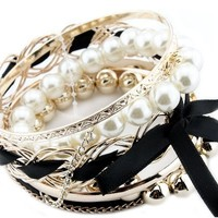 BONAMART ® Set Of Multilayer Braided Bow Faux Pearl Bead Bracelet Bangle Jewelry