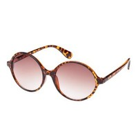 Brown Combo Plastic Round Sunglasses by Charlotte Russe