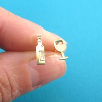 Wine Bottle and Glass Shaped Stud Earrings in Gold For Wine Lovers