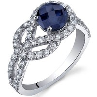 Created Sapphire Ring Sterling Silver Rhodium Nickel Finish Round Shape CZ Accent Size 8