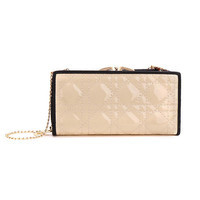 Beige Quilted Wallet With Metal Strap