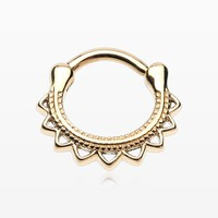 zzz-Golden Tribal El Sol Septum Clicker Ring