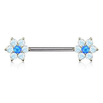 WildKlass Opalite Petals with Opal Center Flowers on Both Ends 316L Surgical Steel Barbell Nipple Rings