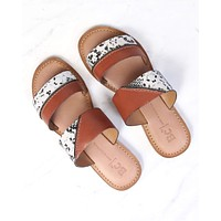 BC Footwear - On The Spot Whiskey Slip On Sandals With Exotic Print in Tan