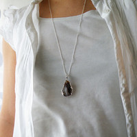 Boho Necklace Brown Agate Layered Necklace Tribal Jewelry Silver Plated Electroform Sterling Silver Chain Large Agate Gemstone Jewelry