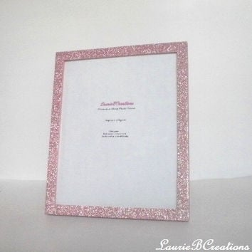 BLUSH PINK GLITTER Picture Frame - Decorative Rose/Blush Pink Sparkling Fine Glitter - for 8 x 10 photos or info