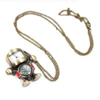 HOTER? Robot and Compass Lovely Style Delicate Design Pocket Watch with Chain, Gift idea