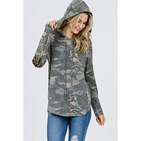 Camo Hoodie With Sequined Elbow Patches - Olive