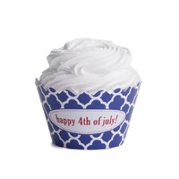Dress My Cupcake Personalized Message Cupcake Wrappers, Spanish Tile, Quatrefoil, Happy 4th of July, Set of 12