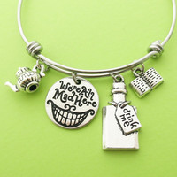 We're All Mad Here, Drink me, Pot, Bottle, Book, Alice in Wonderland, Silver, Bangle, Bracelet, Birthday, Best friend, Gift, Jewelry