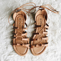 A Lace Up Sandal in Tan